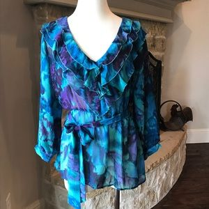 NWT- Colorful sheer blouse, Adiva, XL